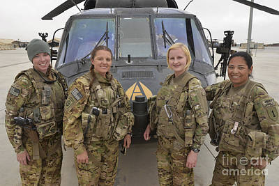 Camouflage Clothing Photograph - A U.s. Army All Female Crew by Stocktrek Images