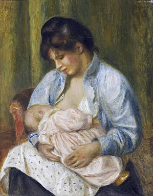 Baby Painting - A Woman Nursing A Child by Celestial Images