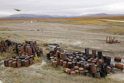 Rusted Barrels Photograph - Abandoned Barrels Of Leaking Waste Oil by Ashley Cooper