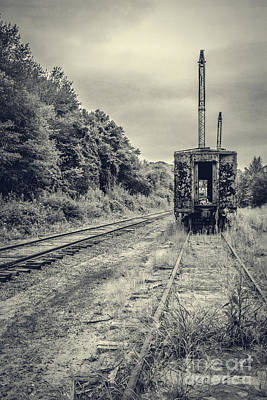 Abandoned Burnt Out Train Cars Print by Edward Fielding