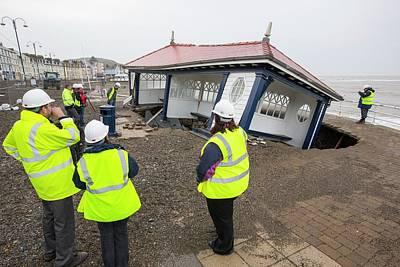 Aberystwyth Storm Damage Print by Ashley Cooper