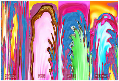 Independence Day Art Mixed Media - Abstract Emotional Stages  Confusion Disbelief Grief Anger Walkaway by Navin Joshi