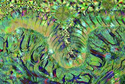 Merging Photograph - Abstract Polarised Light Micrograph by Steve Lowry