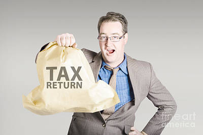Accountant Holding Large Tax Return Refund Print by Jorgo Photography - Wall Art Gallery
