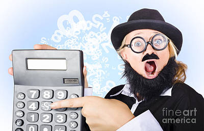 Accountant Pointing To Massive Tax Return Saving Print by Jorgo Photography - Wall Art Gallery