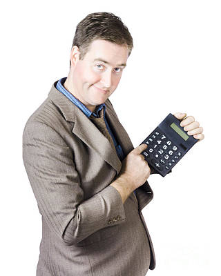 Accounting Business Man Holding Calculator Print by Jorgo Photography - Wall Art Gallery
