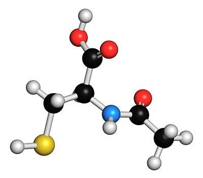 Acetylcysteine Mucolytic Drug Molecule Print by Molekuul