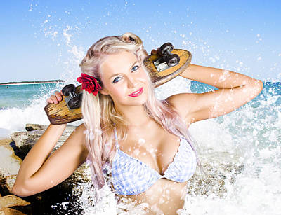 Lively Photograph - Active Sexy Summer Beach Babe With Skateboard by Jorgo Photography - Wall Art Gallery