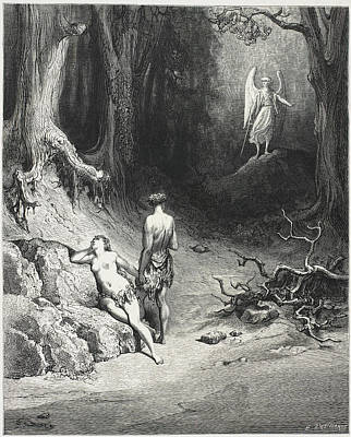 Religious Angel Art Photograph - Adam And Eve In The Garden Of Eden by British Library