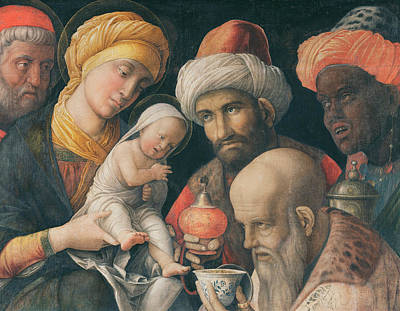 Nativity Scene Painting - Adoration Of The Magi by Andrea Mantegna