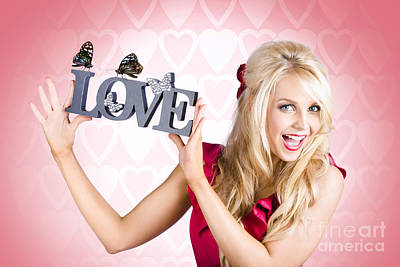 Lively Photograph - Affectionate Blonde Woman With Love Butterflies by Jorgo Photography - Wall Art Gallery