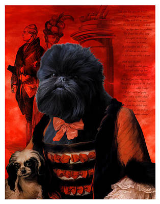 Affenpinscher Painting - Affenpinscher Art By Nobility Dogs by Sandra Sij