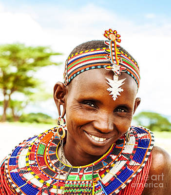 African Tribal Woman Print by Anna Omelchenko