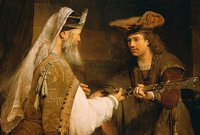Temple Painting - Ahimelech Giving The Sword Of Goliath To David by Aert de Gelder