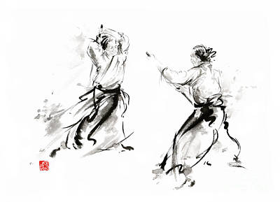 Infinite Painting - Aikido Enso Circle Martial Arts Sumi-e Original Ink Painting Artwork by Mariusz Szmerdt