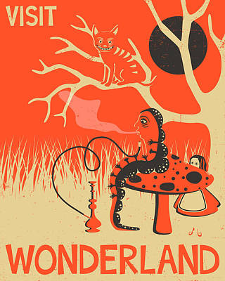 Alice In Wonderland Travel Poster Print by Jazzberry Blue