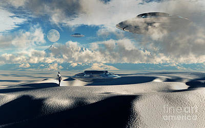Conspiracy Digital Art - Alien Base With Ufos Located by Mark Stevenson
