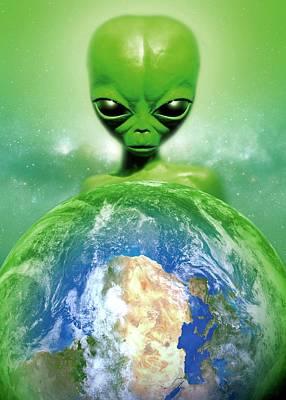 Extraterrestrial Photograph - Alien Observing Earth by Detlev Van Ravenswaay