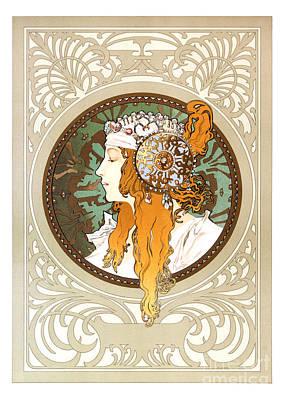 Byzantine Painting - Alphonse Mucha - Byzantine Head - Brunette - 1897 by Pablo Romero