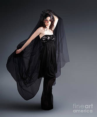 Femme Photograph - Alternative Fashion Model With Black Lace Dress by Jorgo Photography - Wall Art Gallery