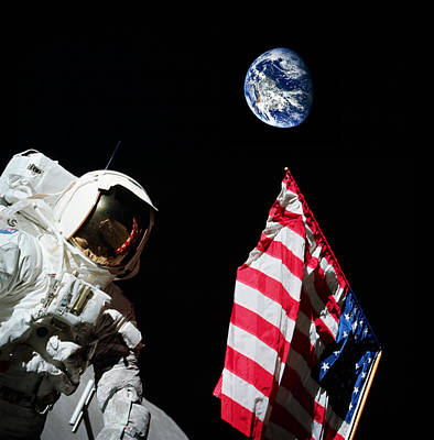Virgo Photograph - American Flag And Earth In The Background During Apollo 17 by Celestial Images