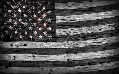 Blue Fireworks Photograph - American Flag Fireworks by John Stephens