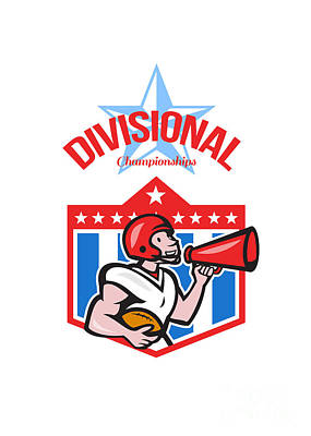 American Football Quarterback Divisional Champions Print by Aloysius Patrimonio