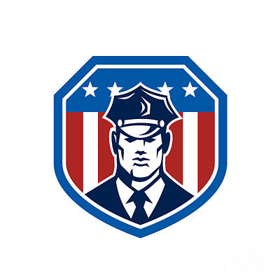 American Security Guard Flag Shield Retro Print by Aloysius Patrimonio