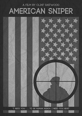 Flying Digital Art - American Sniper Minimalist Movie Poster by Celestial Images