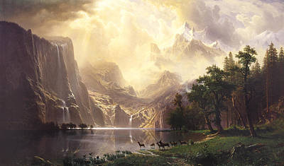 National Parks Painting - Among The Sierra Nevada Mountains California by Albert Bierstadt