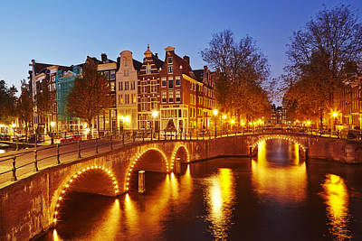 Amsterdam - Old Houses At The Keizersgracht In The Evening Print by Olaf Schulz