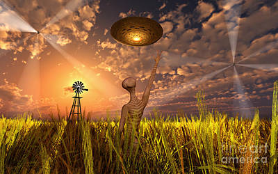 Cloudscape Digital Art - An Alien Being Directing Its Spacecraft by Mark Stevenson