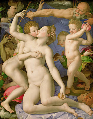 Agony Painting - An Allegory With Venus And Cupid by Agnolo Bronzino