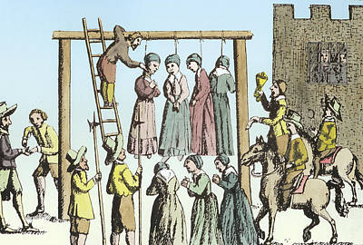 Jail Painting - An Execution Of Witches In England by English School