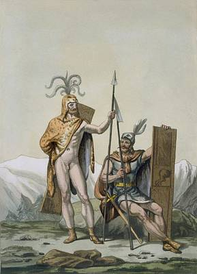 Ancient Celtic Warriors Dressed Print by Italian School