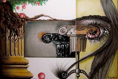 Ink Drawing - Ancient Tree by Geni Gorani