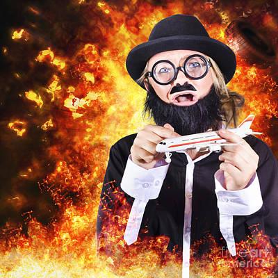 Terrorist Photograph - Angry Business Terrorist Hijacking Model Plane by Jorgo Photography - Wall Art Gallery