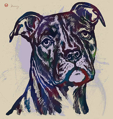 Abstract Of Dogs Drawing - Animal Pop Art Etching Poster - Dog 13 by Kim Wang