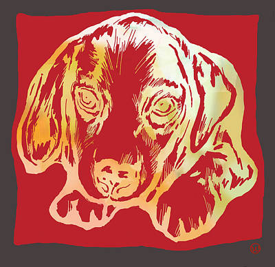 Abstract Of Dogs Drawing - Animal Pop Art Etching Poster - Dog 2 by Kim Wang
