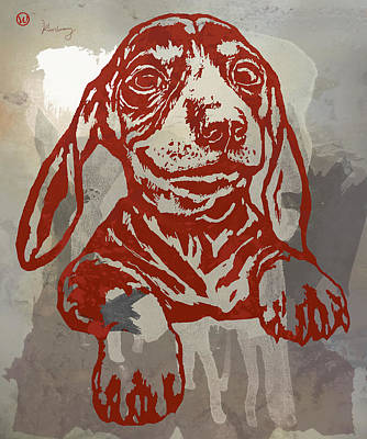 Abstract Of Dogs Drawing - Animal Pop Art Etching Poster - Dog 5 by Kim Wang
