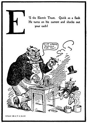 Greed Painting - Anti-trust Cartoon, 1902 by Granger