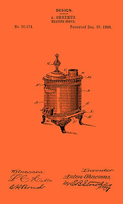 Comfort Drawing - Antique Heating Stove Patent 1896 by Mountain Dreams