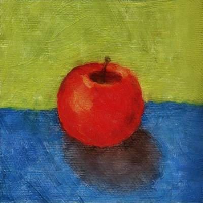 Apple With Green And Blue Print by Michelle Calkins