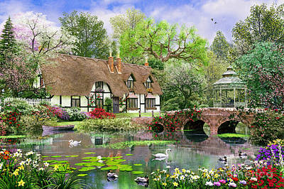 Relaxation Digital Art - April Cottage by Dominic Davison