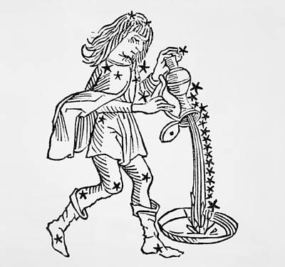 Signs Of The Zodiac Drawing - Aquarius by Italian School