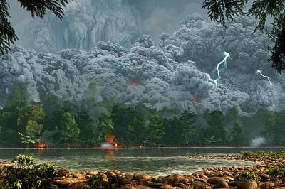 Artwork Of A Pyroclastic Flow Print by Mark Garlick
