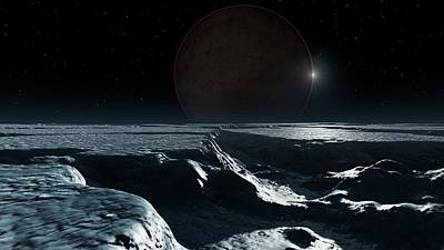 Artwork Of Pluto Seen From Charon Print by Mark Garlick