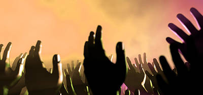 Spectators Digital Art - Audience Hands And Lights At Concert by Allan Swart