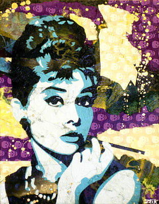 Stencil Art Painting - Audrey All Day by Bobby Zeik