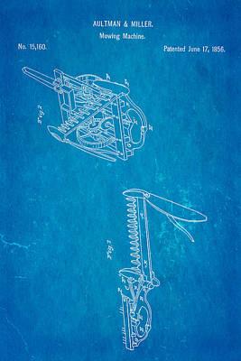 Aultman Mowing Machine Patent 1856 Blueprint Print by Ian Monk